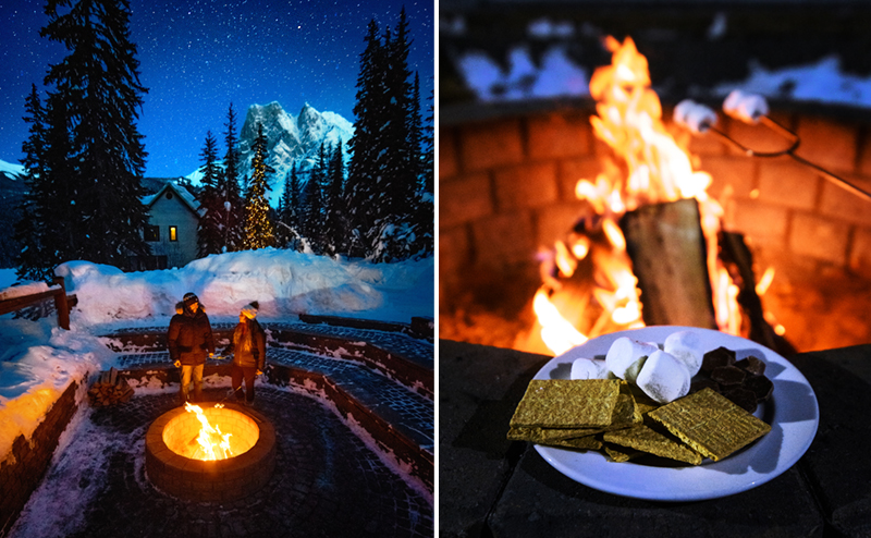 S'mores around the outdoor fire pit at Emerald Lake Lodge