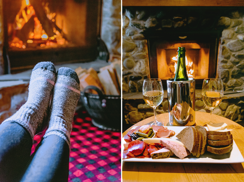 TChampagne and snacks enjoyed in front of the wood-burning fireplace at Emerald Lake Lodge