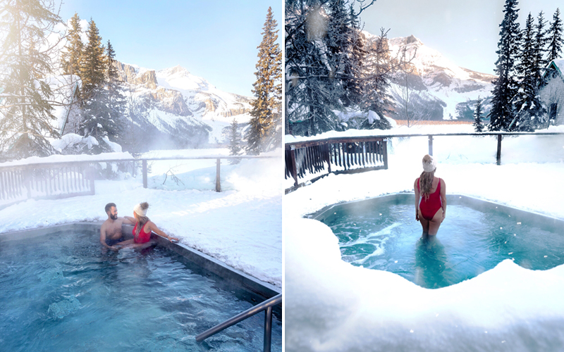 Emerald Lake Lodge's outdoor hot tub with gorgeous mountain views